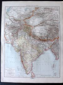 Times 1895 Antique Map. Central Asia and India